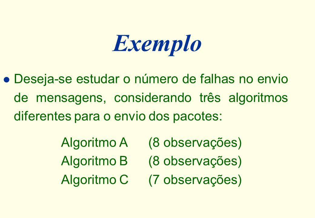 Média (X) l A média aritmética simples ( X ) é a soma dos valores dividida pelo número de observações. X = X n