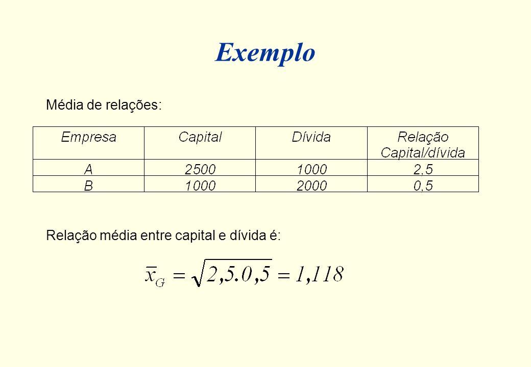 Média Geométrica A média geométrica é apropriada para médias de taxas ou números índices. Por exemplo: 1) estimar a taxa média de retorno após três an