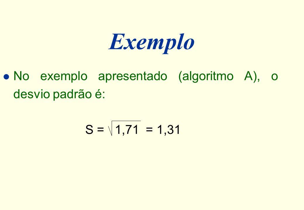 Desvio Padrão (S) l O desvio padrão (S) é a raiz quadrada da variância. S = S 2