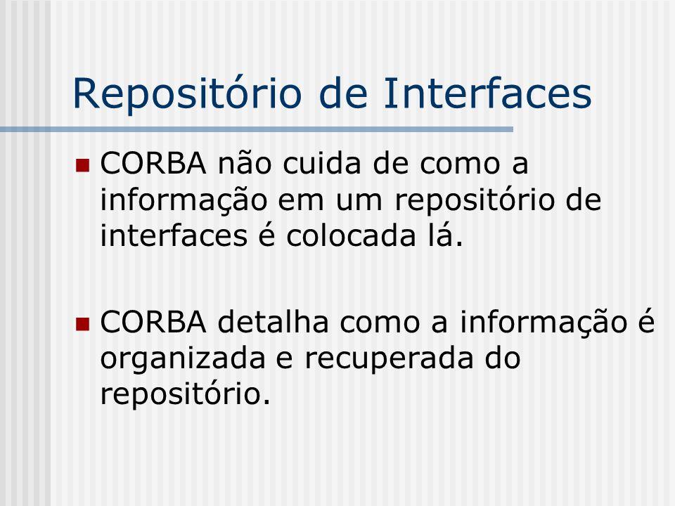 Repositório de Interfaces CORBA não cuida de como a informação em um repositório de interfaces é colocada lá. CORBA detalha como a informação é organi