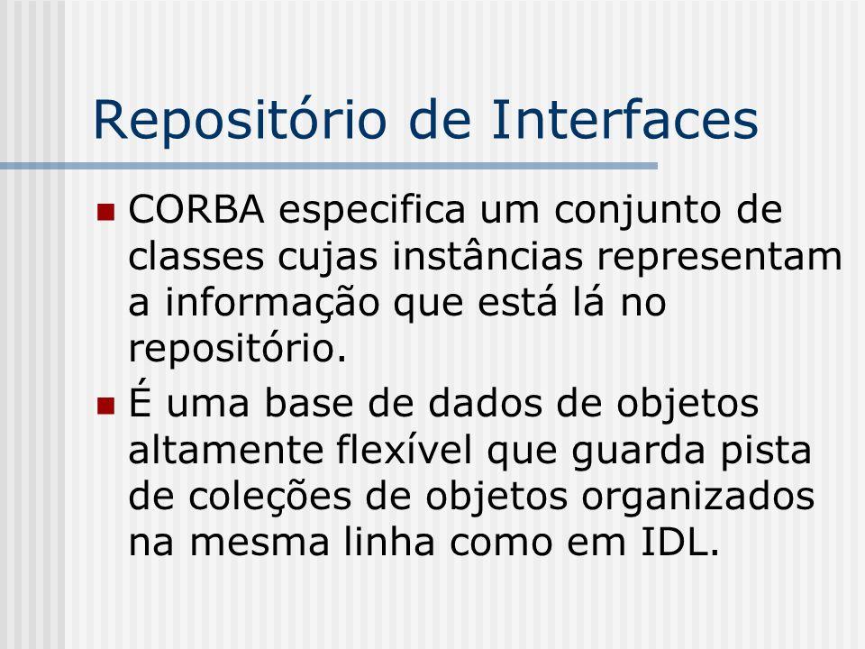 Repositório de Interfaces CORBA especifica um conjunto de classes cujas instâncias representam a informação que está lá no repositório. É uma base de