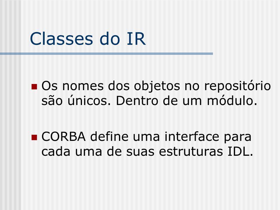 Classes do IR Os nomes dos objetos no repositório são únicos. Dentro de um módulo. CORBA define uma interface para cada uma de suas estruturas IDL.