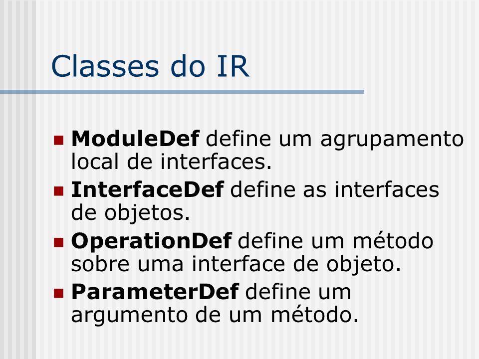 Classes do IR ModuleDef define um agrupamento local de interfaces. InterfaceDef define as interfaces de objetos. OperationDef define um método sobre u
