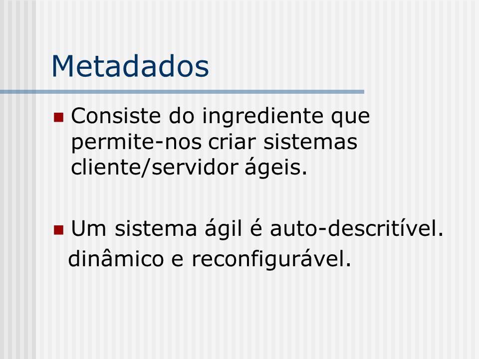 Metadados Consiste do ingrediente que permite-nos criar sistemas cliente/servidor ágeis. Um sistema ágil é auto-descritível. dinâmico e reconfigurável