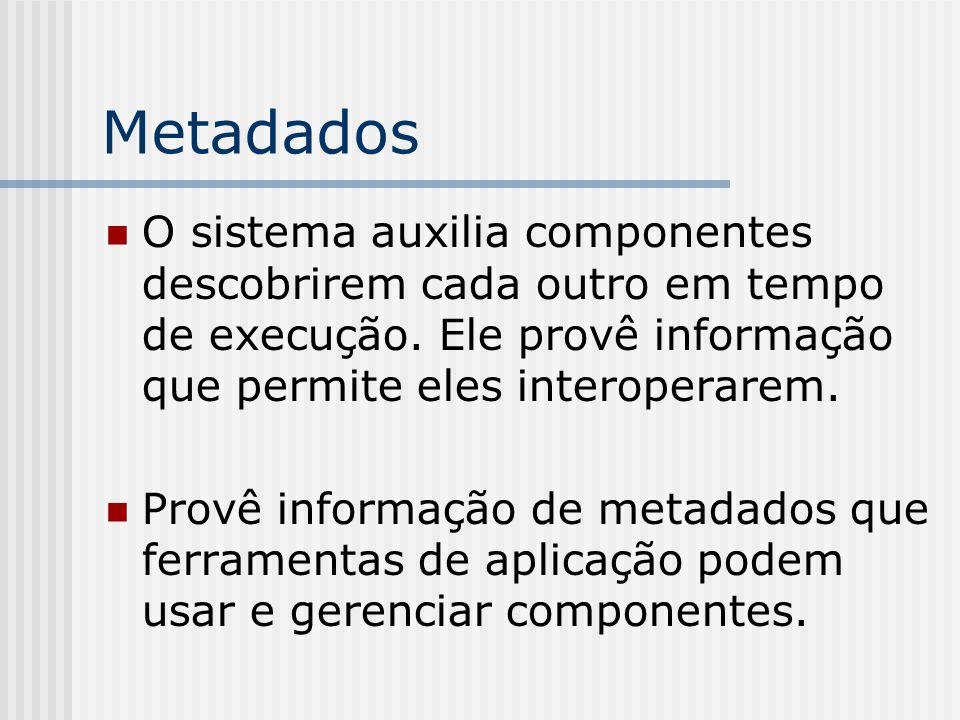 Metadados O sistema auxilia componentes descobrirem cada outro em tempo de execução. Ele provê informação que permite eles interoperarem. Provê inform