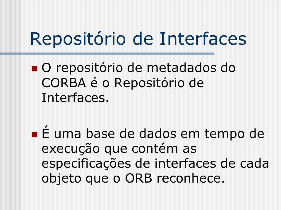 Repositório de Interfaces O repositório de metadados do CORBA é o Repositório de Interfaces. É uma base de dados em tempo de execução que contém as es