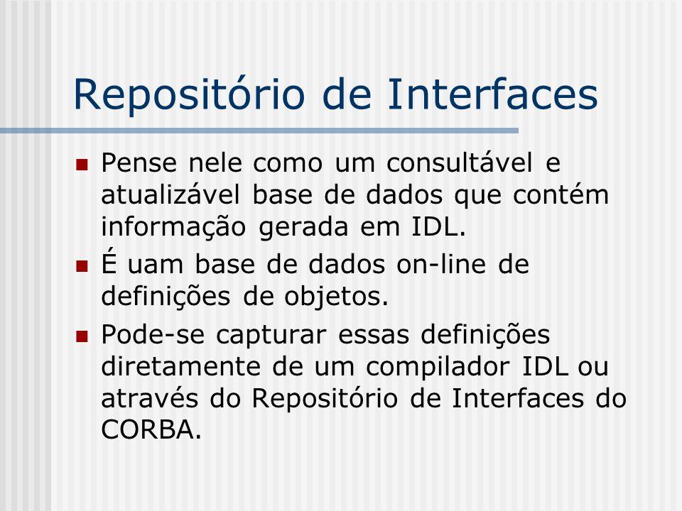Repositório de Interfaces Pense nele como um consultável e atualizável base de dados que contém informação gerada em IDL. É uam base de dados on-line