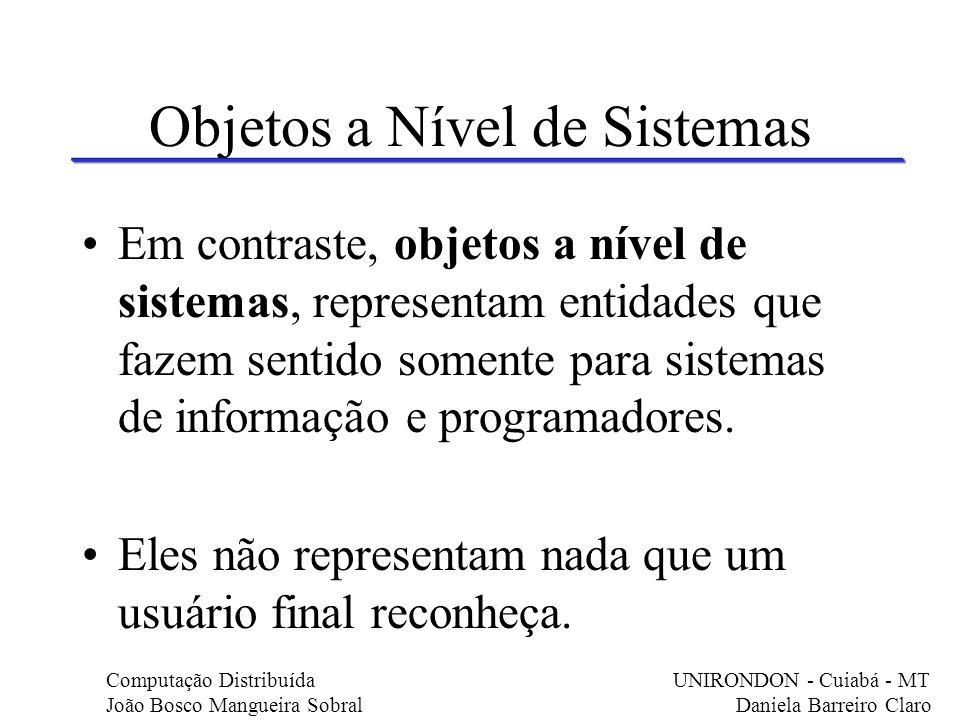 BO em CORBA De acordo com a OMG, um BO é um top- level object reconhecível pelo usuário final de um sistema.