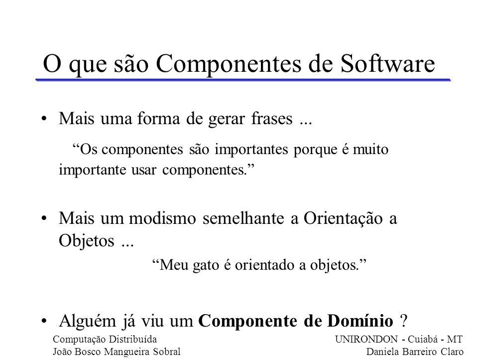 Componentes de Domínio Significado de Domínio : Cooperação entre componentes Exemplo em Delphi: Podemos observar componentes durante a construção de uma simples aplicação em Delphi...