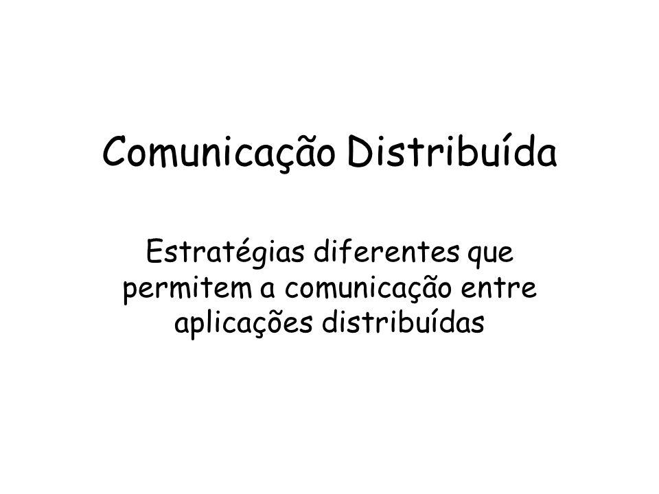 Comunicação Distribuída Estratégias diferentes que permitem a comunicação entre aplicações distribuídas
