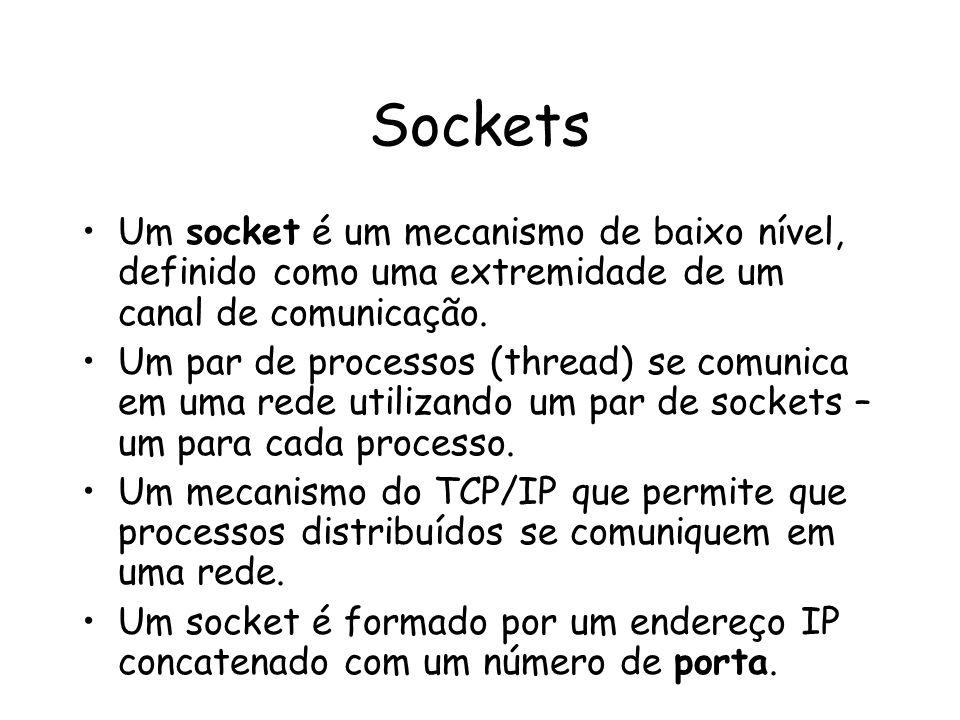 Sockets Um socket é um mecanismo de baixo nível, definido como uma extremidade de um canal de comunicação. Um par de processos (thread) se comunica em