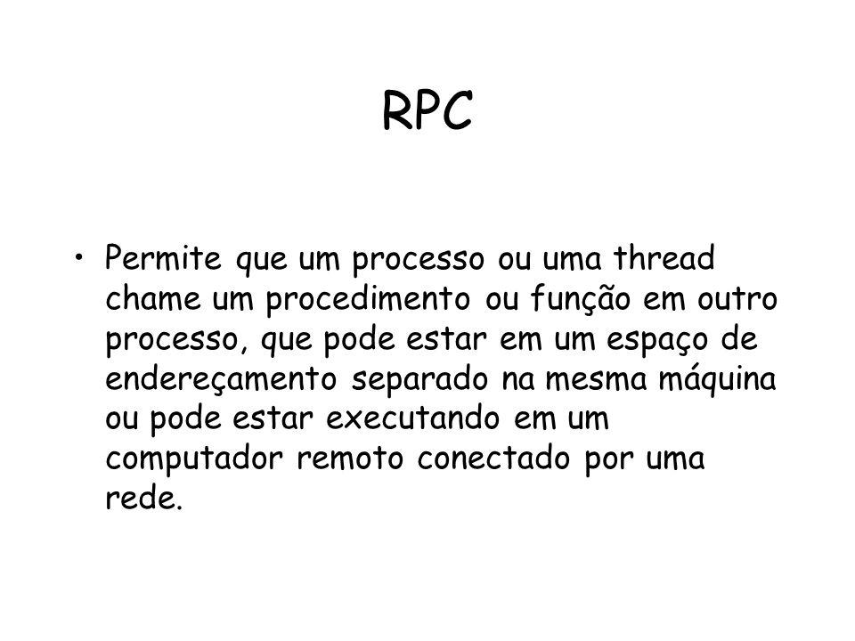 RPC Permite que um processo ou uma thread chame um procedimento ou função em outro processo, que pode estar em um espaço de endereçamento separado na
