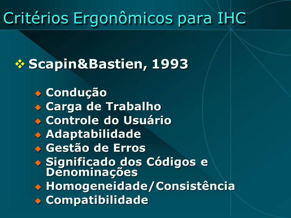 Critérios Ergonômicos para IHC Scapin&Bastien, 1993 Scapin&Bastien, 1993 Condução Condução Carga de Trabalho Carga de Trabalho Controle do Usuário Con