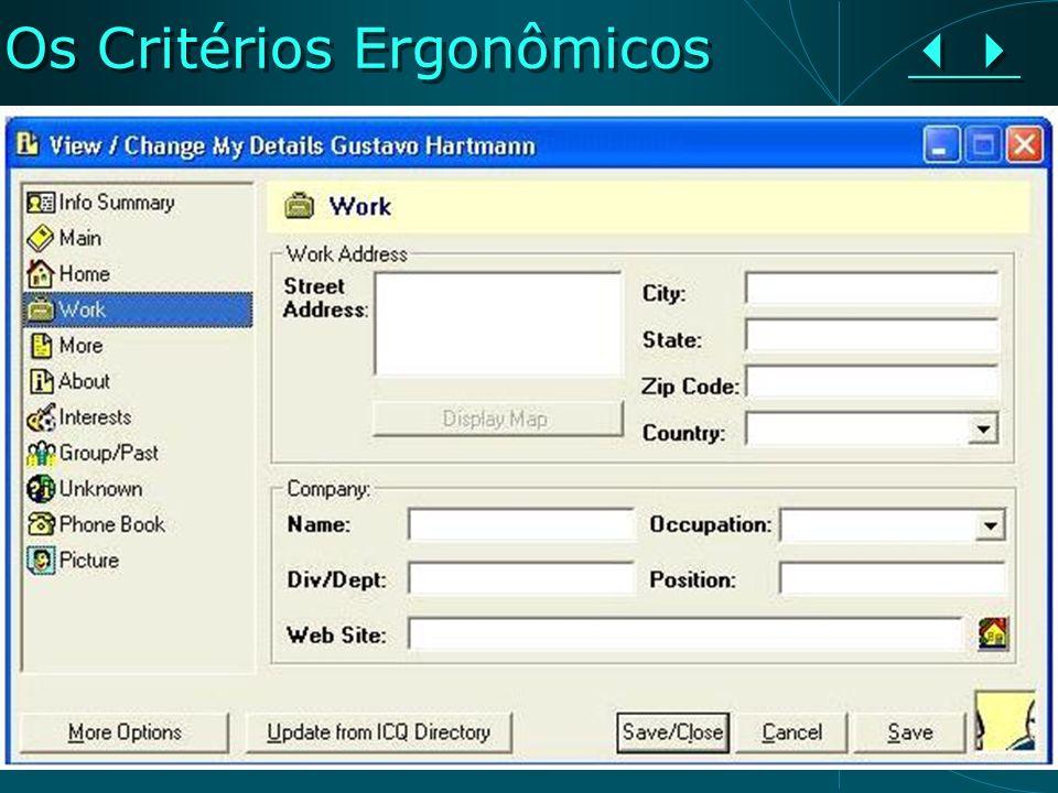 Os Critérios Ergonômicos Os Critérios Ergonômicos