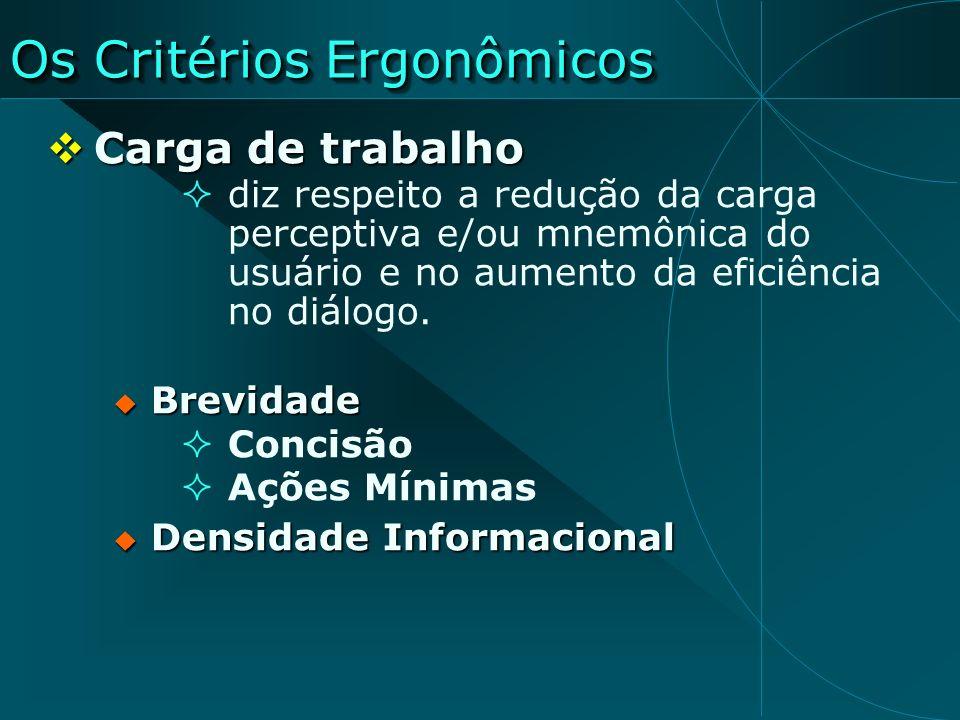 Os Critérios Ergonômicos Carga de trabalho Carga de trabalho diz respeito a redução da carga perceptiva e/ou mnemônica do usuário e no aumento da efic
