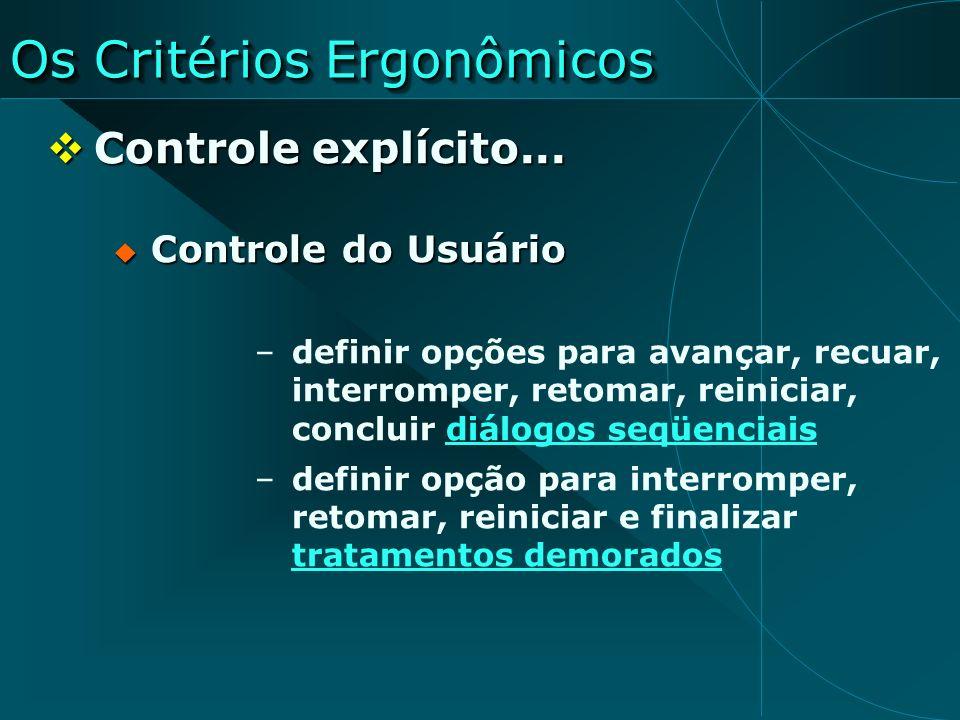 Os Critérios Ergonômicos Controle explícito... Controle explícito... Controle do Usuário Controle do Usuário –definir opções para avançar, recuar, int