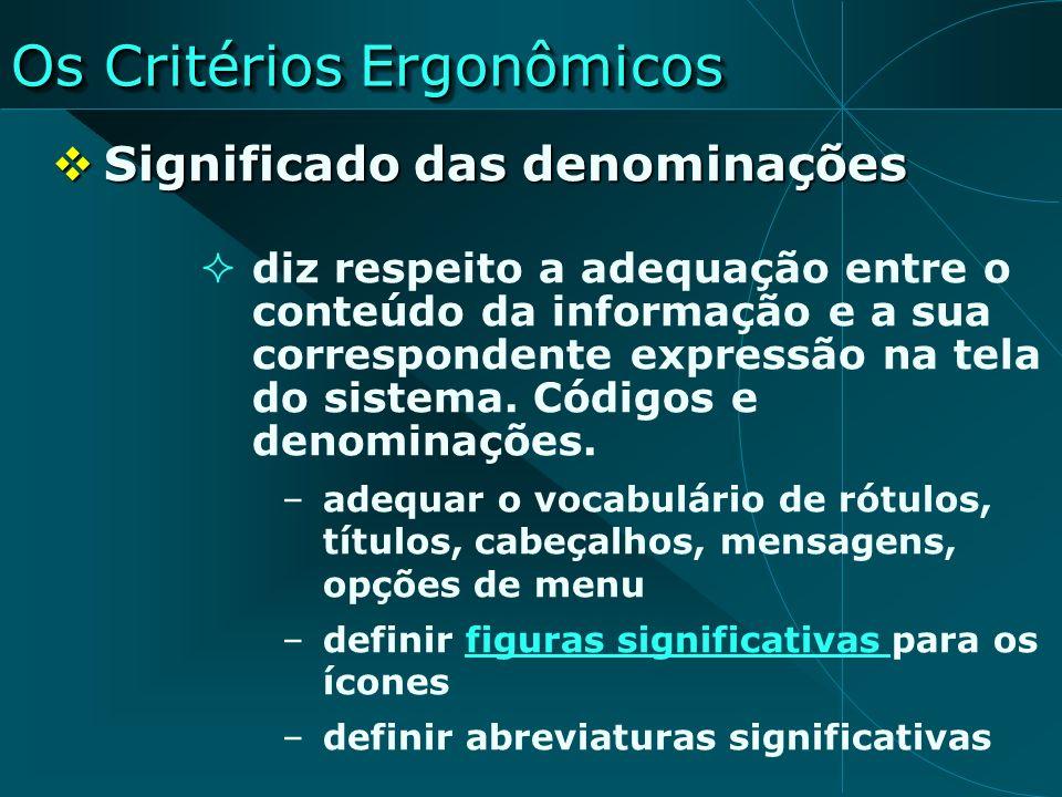 Os Critérios Ergonômicos Significado das denominações Significado das denominações diz respeito a adequação entre o conteúdo da informação e a sua cor