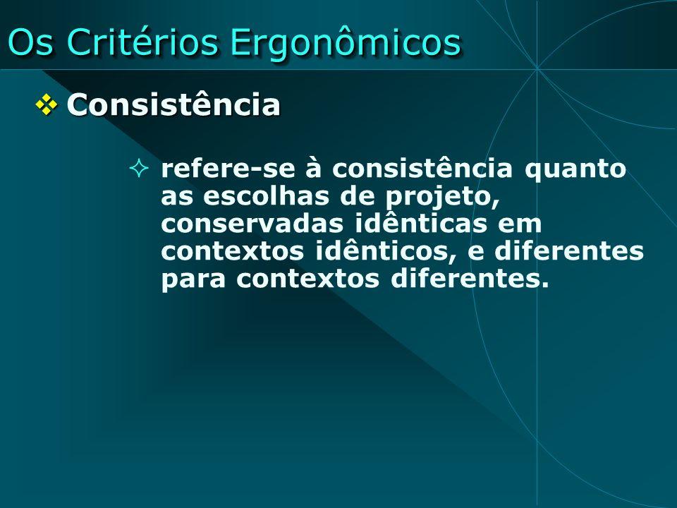 Os Critérios Ergonômicos Consistência Consistência refere-se à consistência quanto as escolhas de projeto, conservadas idênticas em contextos idêntico
