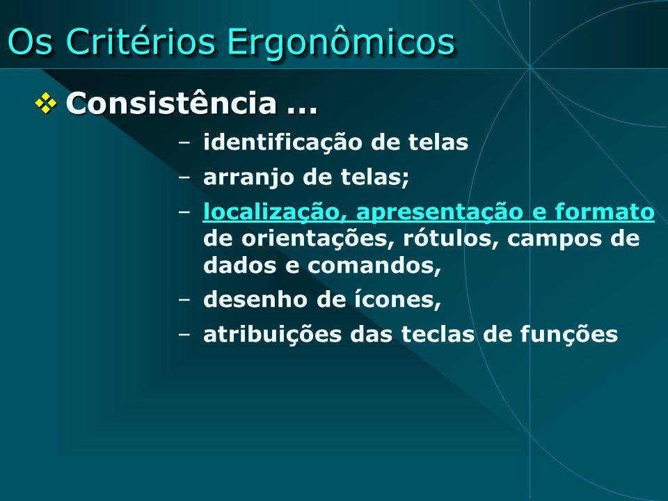 Os Critérios Ergonômicos Consistência... Consistência... –identificação de telas –arranjo de telas; –localização, apresentação e formato de orientaçõe