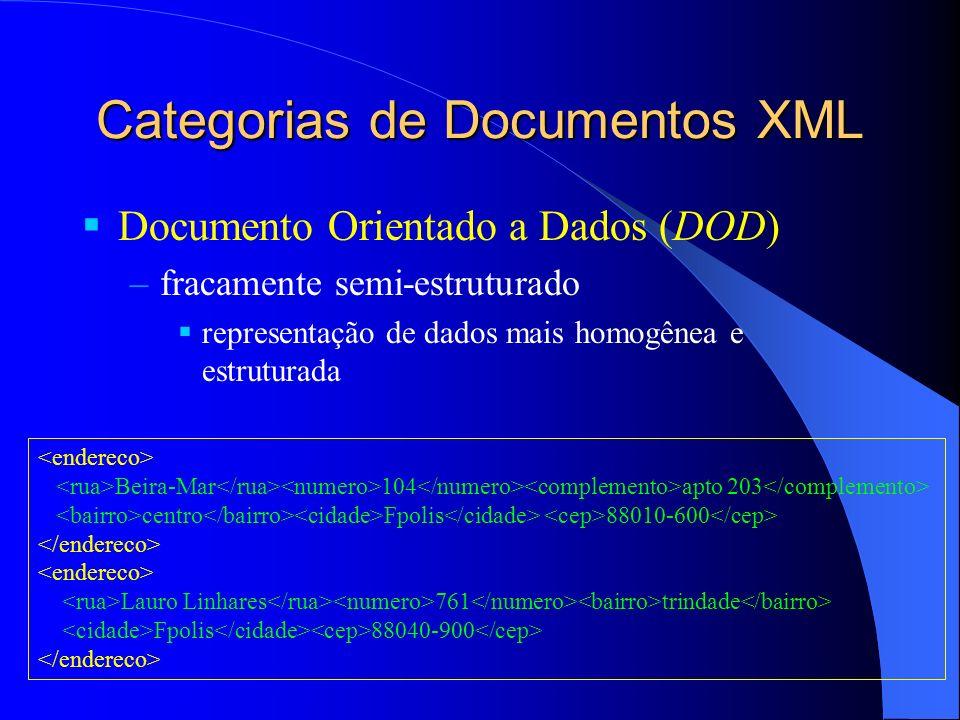 Armazenamento Docs XML in-natura tratados como uma caixa preta –deseja-se preservar o texto do documento indexação apenas textual (por palavra-chave) Objetos DOM que representam os dados XML (+ usado) armazenamento clusterizado de objetos – nodos próximos na hierarquia do doc XML são armazenados próximos fisicamente através de uma busca em largura ou profundidade –facilita indexação e busca de uma hierarquia de objetos apenas os elementos de mais alto nível precisam ser indexados os demais elementos são buscados via varredura linear