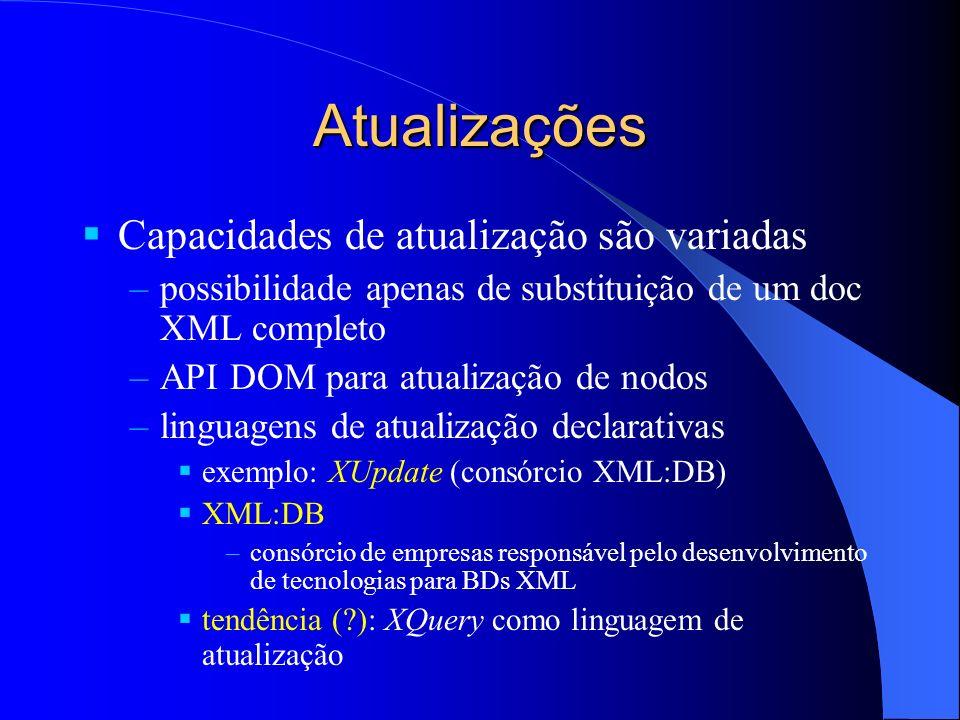 Atualizações Capacidades de atualização são variadas –possibilidade apenas de substituição de um doc XML completo –API DOM para atualização de nodos –