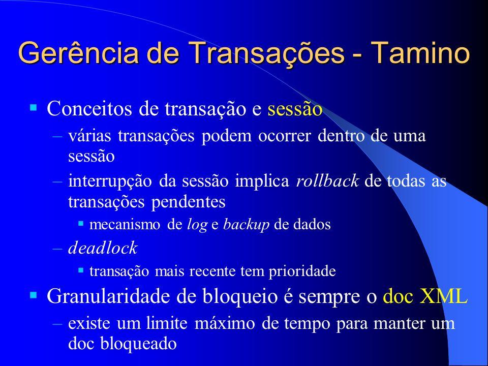 Gerência de Transações - Tamino Conceitos de transação e sessão –várias transações podem ocorrer dentro de uma sessão –interrupção da sessão implica r