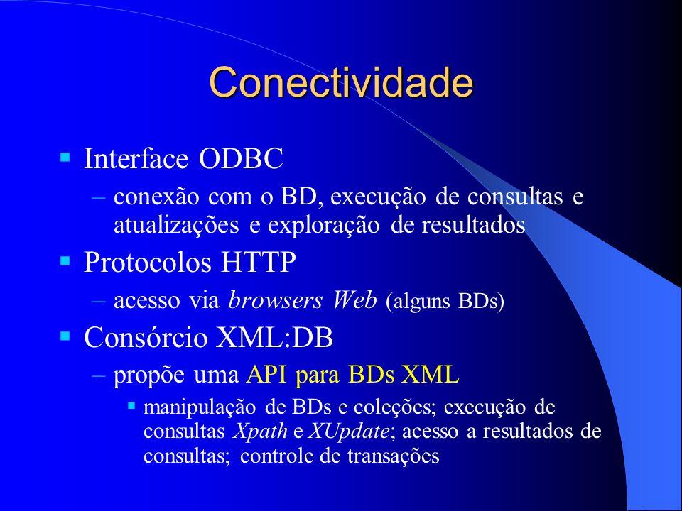 Conectividade Interface ODBC –conexão com o BD, execução de consultas e atualizações e exploração de resultados Protocolos HTTP –acesso via browsers W