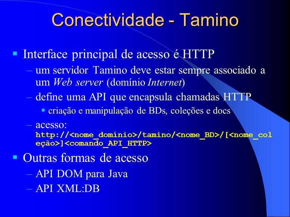Conectividade - Tamino Interface principal de acesso é HTTP –um servidor Tamino deve estar sempre associado a um Web server (domínio Internet) –define