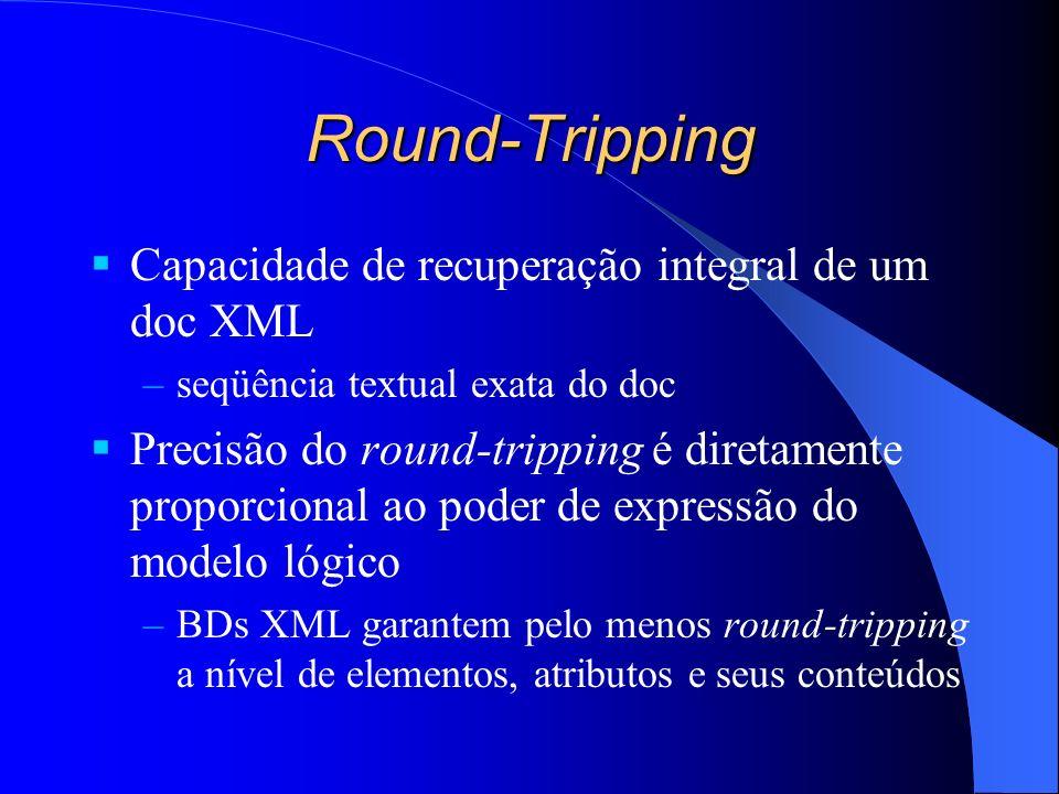 Round-Tripping Capacidade de recuperação integral de um doc XML –seqüência textual exata do doc Precisão do round-tripping é diretamente proporcional