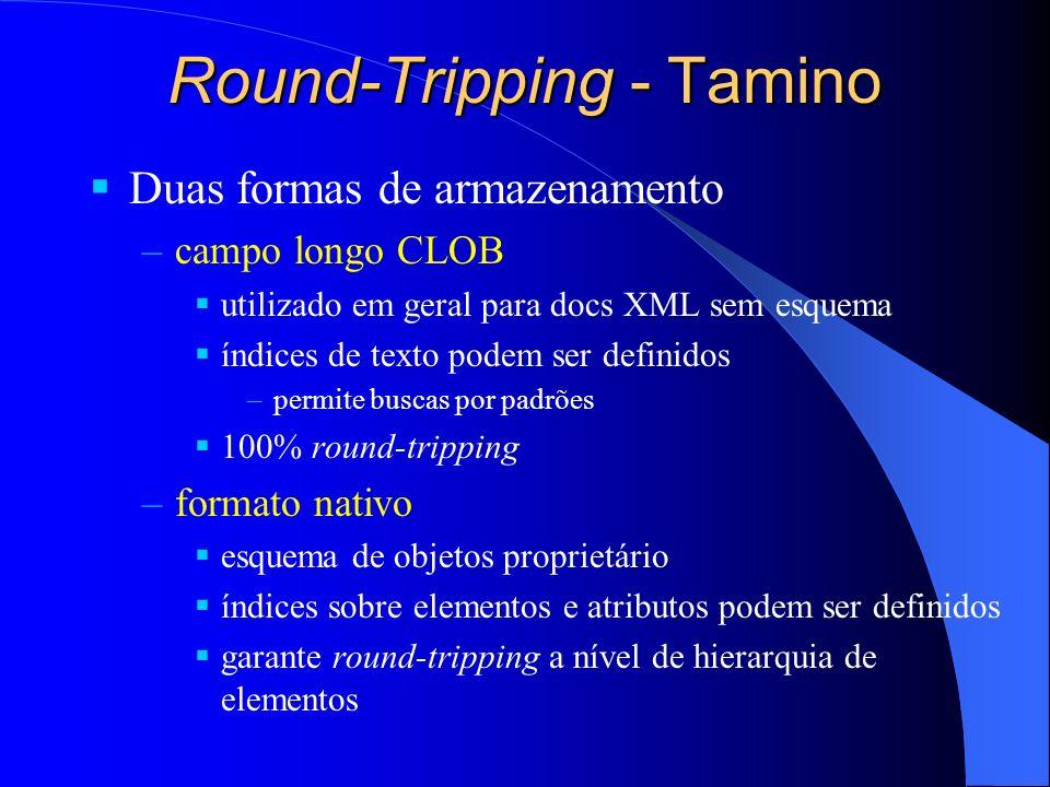 Round-Tripping - Tamino Duas formas de armazenamento –campo longo CLOB utilizado em geral para docs XML sem esquema índices de texto podem ser definid