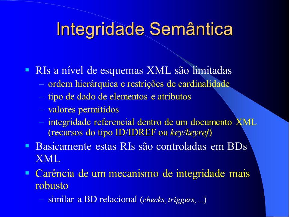 Integridade Semântica RIs a nível de esquemas XML são limitadas –ordem hierárquica e restrições de cardinalidade –tipo de dado de elementos e atributo