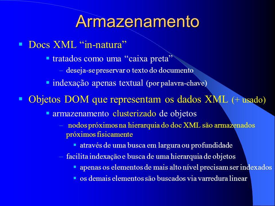 Armazenamento Docs XML in-natura tratados como uma caixa preta –deseja-se preservar o texto do documento indexação apenas textual (por palavra-chave)