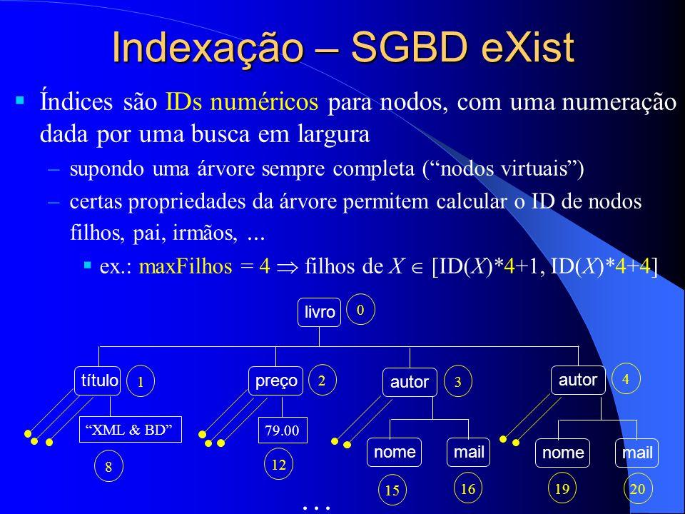 Indexação – SGBD eXist Índices são IDs numéricos para nodos, com uma numeração dada por uma busca em largura –supondo uma árvore sempre completa (nodo