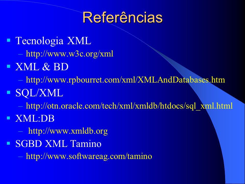 Referências Tecnologia XML –http://www.w3c.org/xml XML & BD –http://www.rpbourret.com/xml/XMLAndDatabases.htm SQL/XML –http://otn.oracle.com/tech/xml/