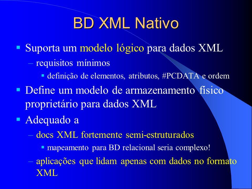 Conectividade Interface ODBC –conexão com o BD, execução de consultas e atualizações e exploração de resultados Protocolos HTTP –acesso via browsers Web (alguns BDs) Consórcio XML:DB –propõe uma API para BDs XML manipulação de BDs e coleções; execução de consultas Xpath e XUpdate; acesso a resultados de consultas; controle de transações