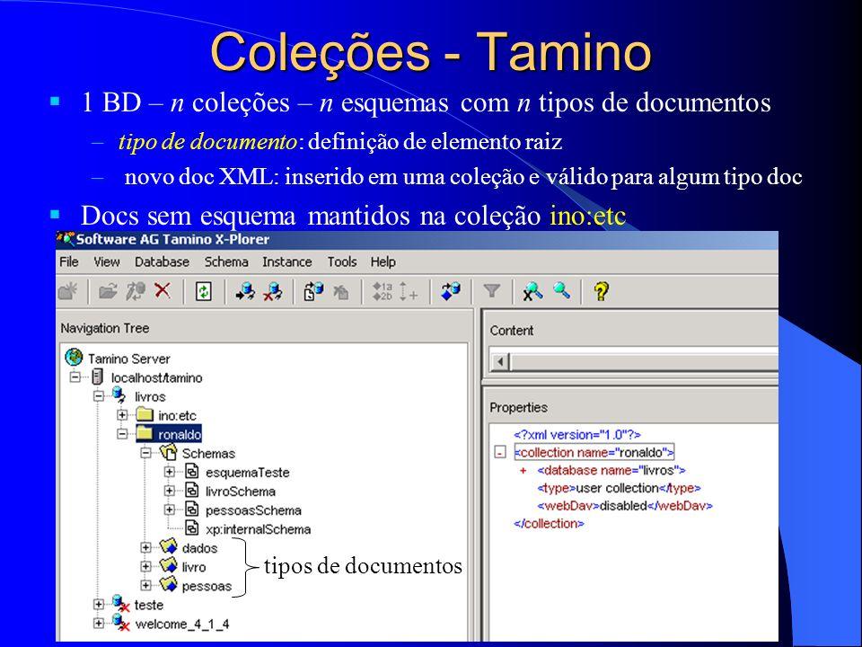 Coleções - Tamino 1 BD – n coleções – n esquemas com n tipos de documentos –tipo de documento: definição de elemento raiz – novo doc XML: inserido em