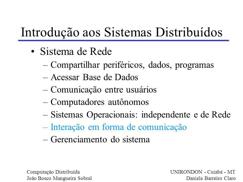 Sistema de Rede –Compartilhar periféricos, dados, programas –Acessar Base de Dados –Comunicação entre usuários –Computadores autônomos –Sistemas Opera