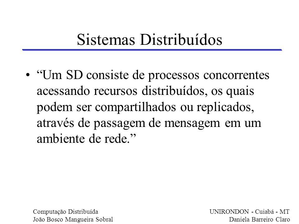 Um SD consiste de processos concorrentes acessando recursos distribuídos, os quais podem ser compartilhados ou replicados, através de passagem de mens