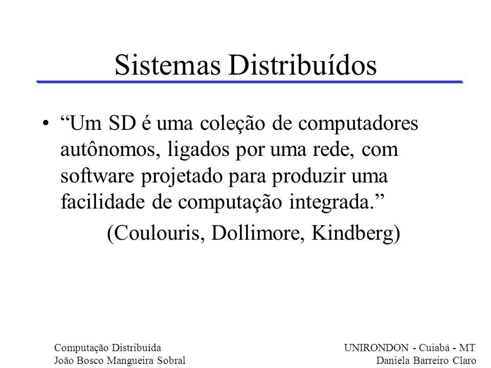 Sistemas Distribuídos Um SD é uma coleção de computadores autônomos, ligados por uma rede, com software projetado para produzir uma facilidade de comp