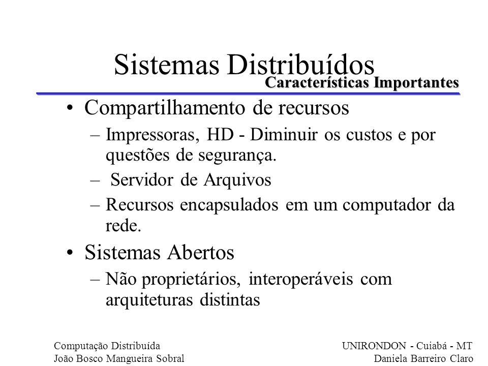 Sistemas Distribuídos Compartilhamento de recursos –Impressoras, HD - Diminuir os custos e por questões de segurança. – Servidor de Arquivos –Recursos