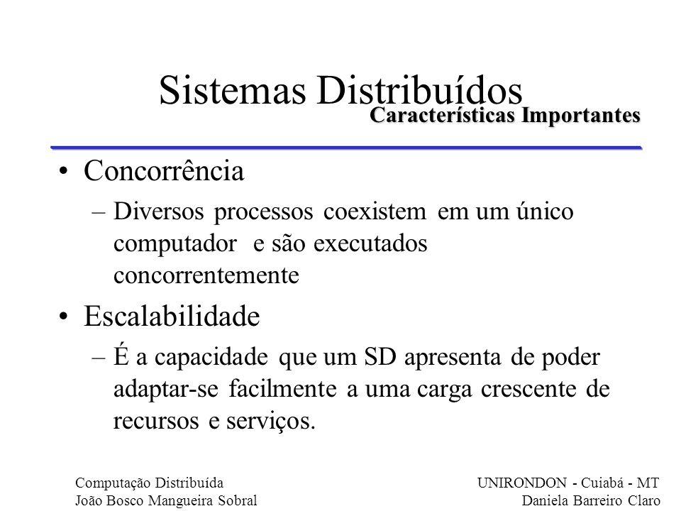 Concorrência –Diversos processos coexistem em um único computador e são executados concorrentemente Escalabilidade –É a capacidade que um SD apresenta
