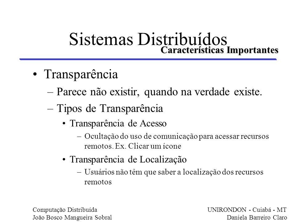 Sistemas Distribuídos Transparência –Parece não existir, quando na verdade existe. –Tipos de Transparência Transparência de Acesso –Ocultação do uso d