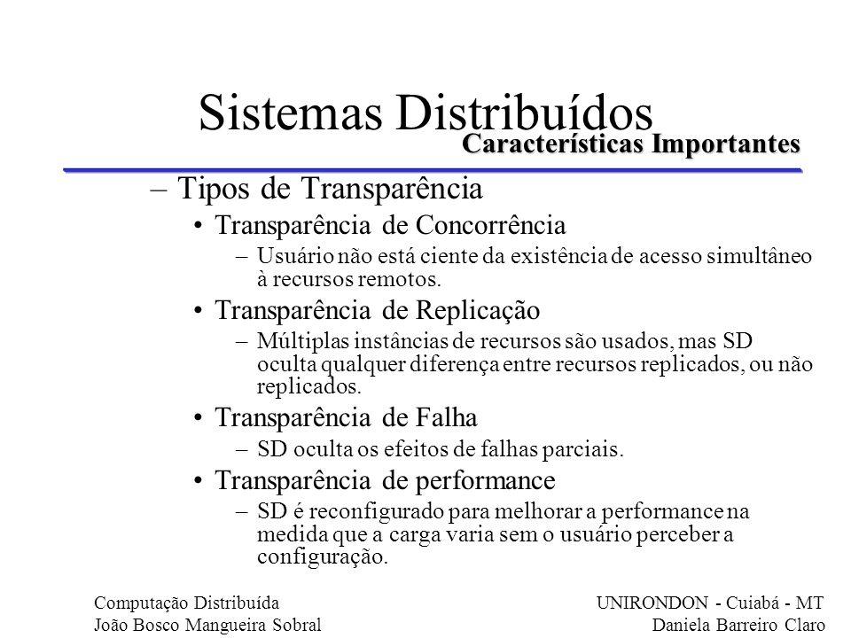 Sistemas Distribuídos –Tipos de Transparência Transparência de Concorrência –Usuário não está ciente da existência de acesso simultâneo à recursos rem