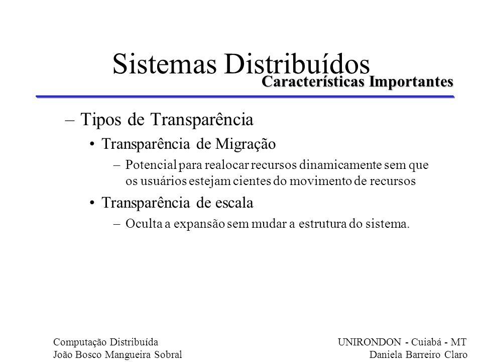 Sistemas Distribuídos –Tipos de Transparência Transparência de Migração –Potencial para realocar recursos dinamicamente sem que os usuários estejam ci