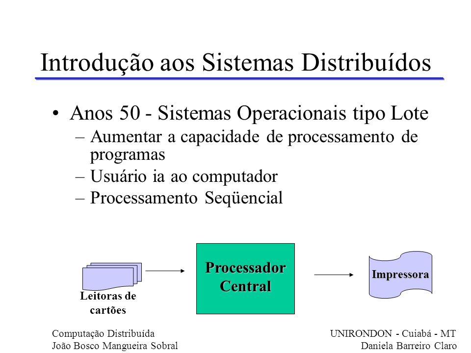 Introdução aos Sistemas Distribuídos Anos 50 - Sistemas Operacionais tipo Lote –Aumentar a capacidade de processamento de programas –Usuário ia ao com