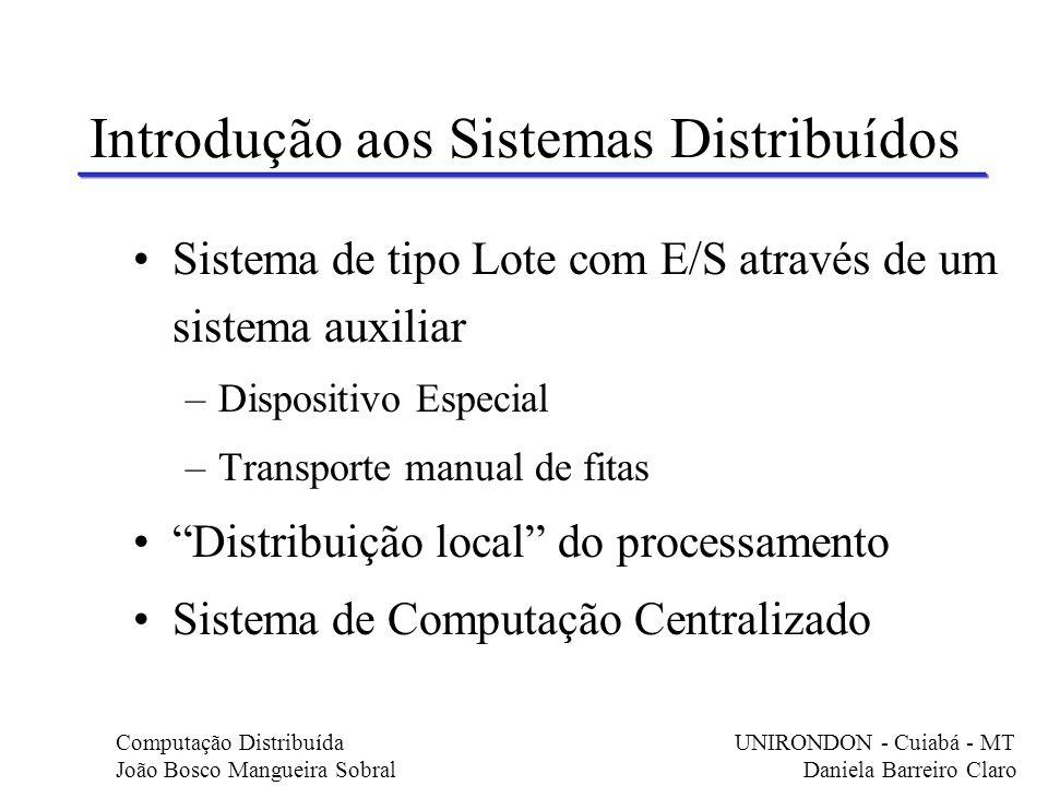 Introdução aos Sistemas Distribuídos Sistema de tipo Lote com E/S através de um sistema auxiliar –Dispositivo Especial –Transporte manual de fitas Dis