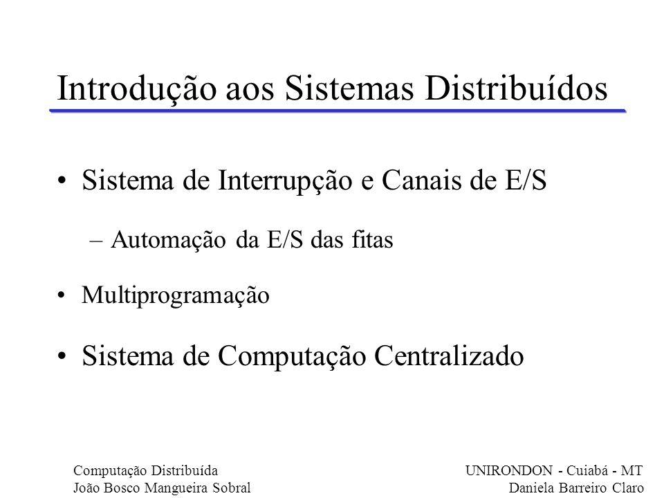 Sistema de Interrupção e Canais de E/S –Automação da E/S das fitas Multiprogramação Sistema de Computação Centralizado Introdução aos Sistemas Distrib
