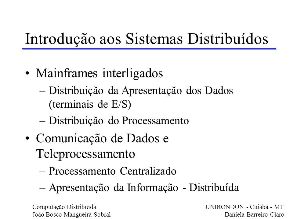 Mainframes interligados –Distribuição da Apresentação dos Dados (terminais de E/S) –Distribuição do Processamento Comunicação de Dados e Teleprocessam