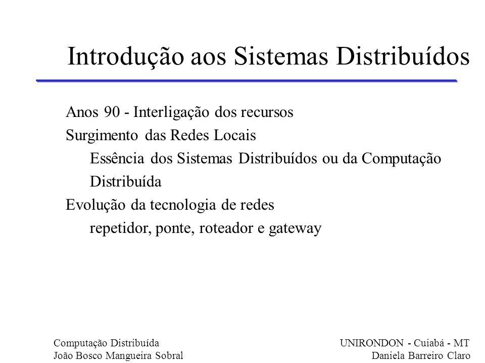 Anos 90 - Interligação dos recursos Surgimento das Redes Locais Essência dos Sistemas Distribuídos ou da Computação Distribuída Evolução da tecnologia
