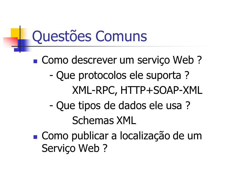 Questões Comuns Como descrever um serviço Web ? - Que protocolos ele suporta ? XML-RPC, HTTP+SOAP-XML - Que tipos de dados ele usa ? Schemas XML Como